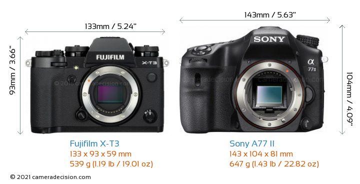 Fujifilm X-T3 vs Sony A77 II Camera Size Comparison - Front View