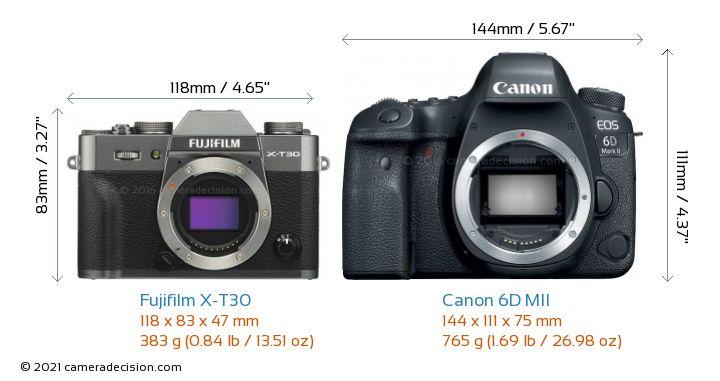 Fujifilm X-T30 vs Canon 6D MII Camera Size Comparison - Front View