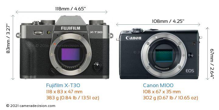 Fujifilm X-T30 vs Canon M100 Camera Size Comparison - Front View