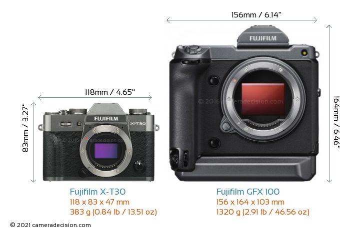 Fujifilm X-T30 vs Fujifilm GFX 100 Camera Size Comparison - Front View
