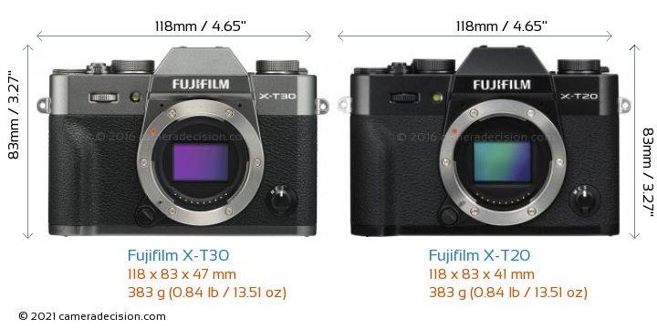 Fujifilm X-T30 vs Fujifilm X-T20 Camera Size Comparison - Front View