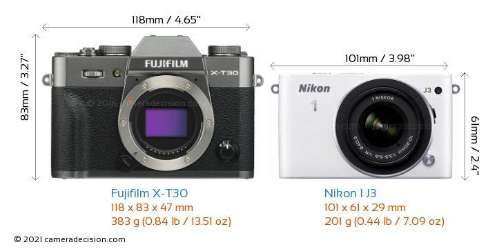Fujifilm X-T30 vs Nikon 1 J3 Camera Size Comparison - Front View