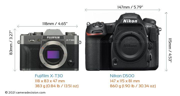 Fujifilm X-T30 vs Nikon D500 Camera Size Comparison - Front View