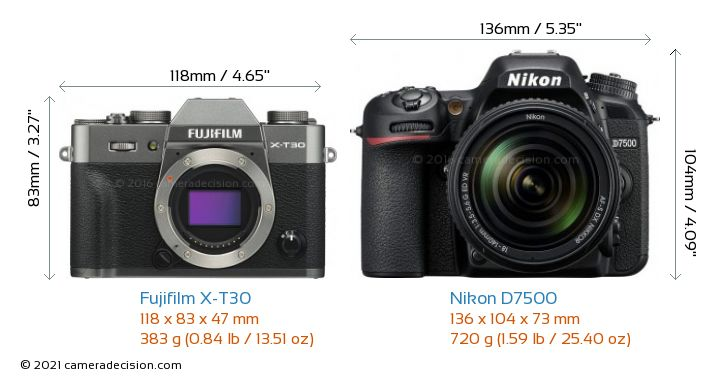 Fujifilm X-T30 vs Nikon D7500 Camera Size Comparison - Front View