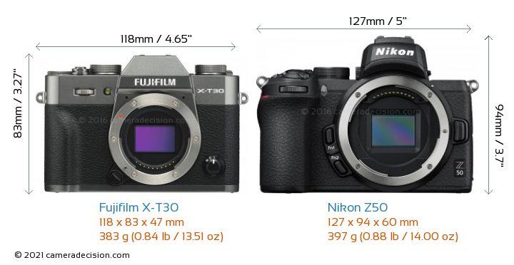 Fujifilm X-T30 vs Nikon Z50 Camera Size Comparison - Front View
