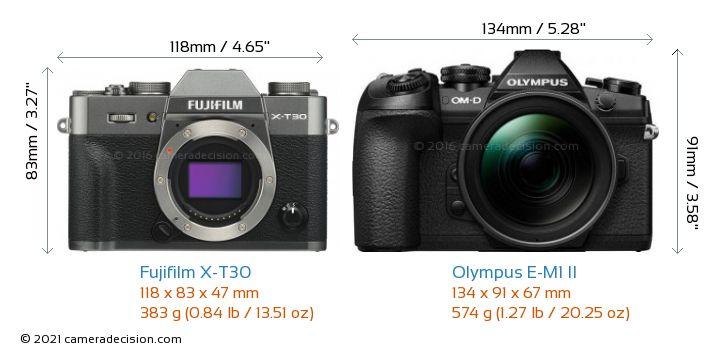 Fujifilm X-T30 vs Olympus E-M1 II Camera Size Comparison - Front View