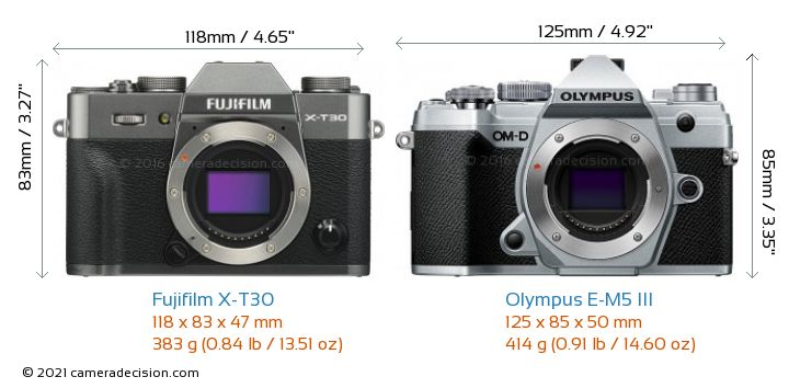 Fujifilm X-T30 vs Olympus E-M5 III Camera Size Comparison - Front View