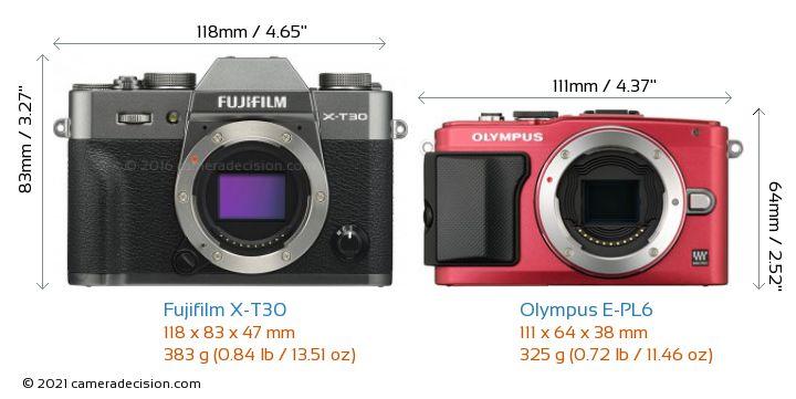 Fujifilm X-T30 vs Olympus E-PL6 Camera Size Comparison - Front View