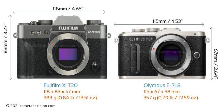 Fujifilm X-T30 vs Olympus E-PL8 Camera Size Comparison - Front View