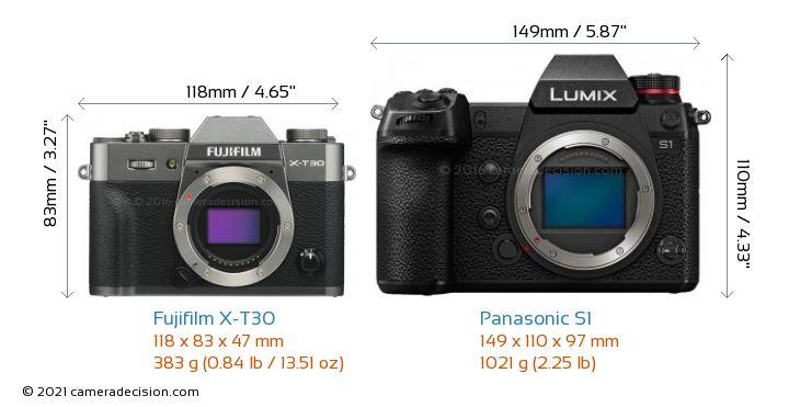 Fujifilm X-T30 vs Panasonic S1 Camera Size Comparison - Front View