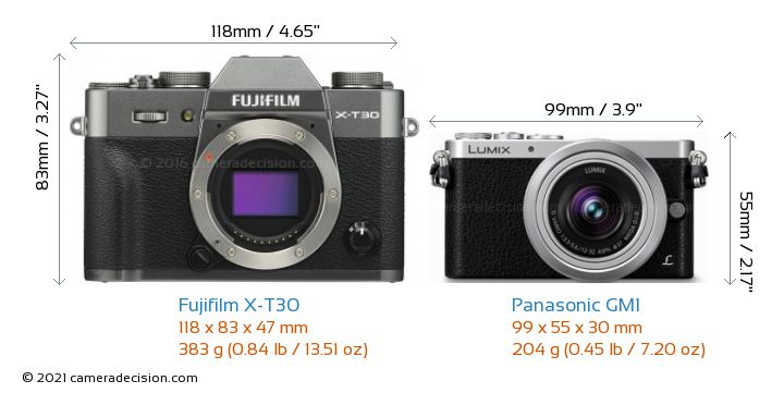 Fujifilm X-T30 vs Panasonic GM1 Camera Size Comparison - Front View