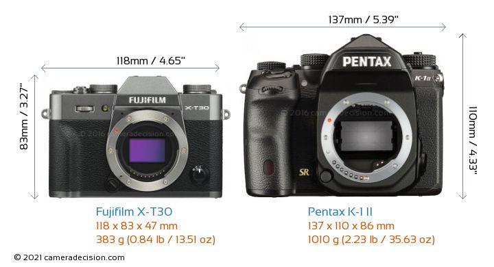 Fujifilm X-T30 vs Pentax K-1 II Camera Size Comparison - Front View