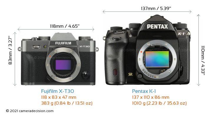 Fujifilm X-T30 vs Pentax K-1 Camera Size Comparison - Front View