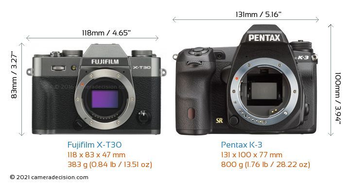 Fujifilm X-T30 vs Pentax K-3 Camera Size Comparison - Front View