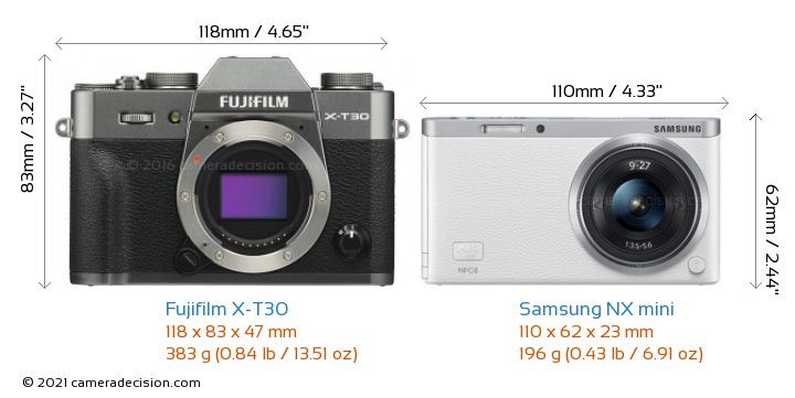 Fujifilm X-T30 vs Samsung NX mini Camera Size Comparison - Front View