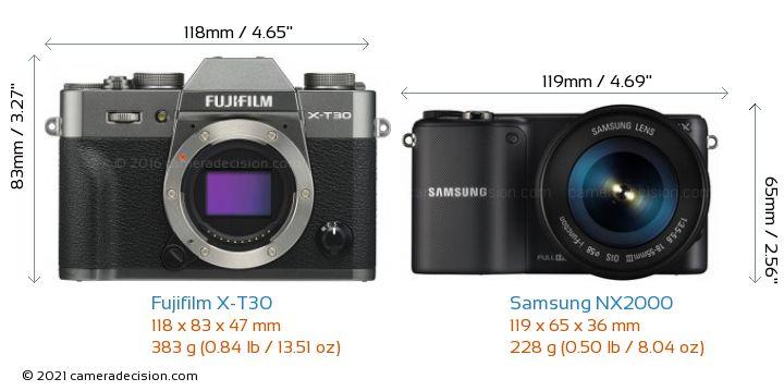 Fujifilm X-T30 vs Samsung NX2000 Camera Size Comparison - Front View