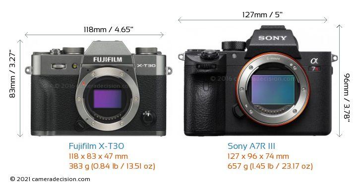 Fujifilm X-T30 vs Sony A7R III Camera Size Comparison - Front View
