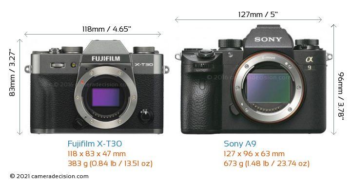 Fujifilm X-T30 vs Sony A9 Camera Size Comparison - Front View