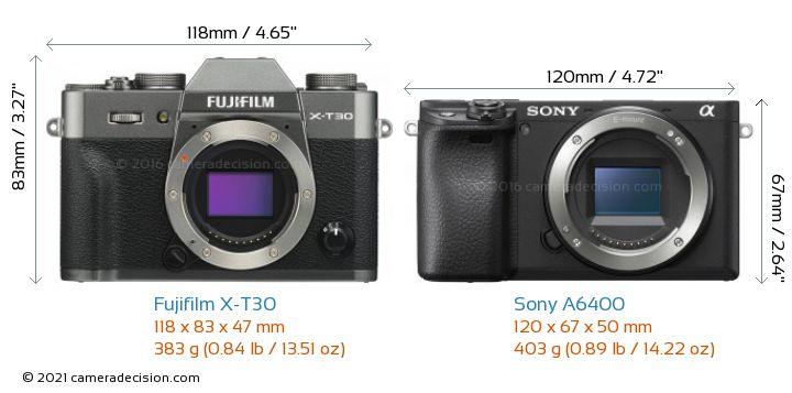 Fujifilm X-T30 vs Sony A6400 Camera Size Comparison - Front View