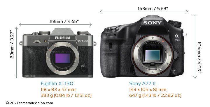 Fujifilm X-T30 vs Sony A77 II Camera Size Comparison - Front View