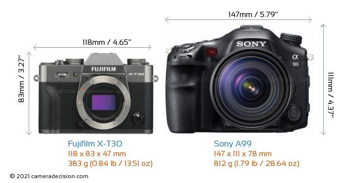 Fujifilm X-T30 vs Sony A99 Camera Size Comparison - Front View