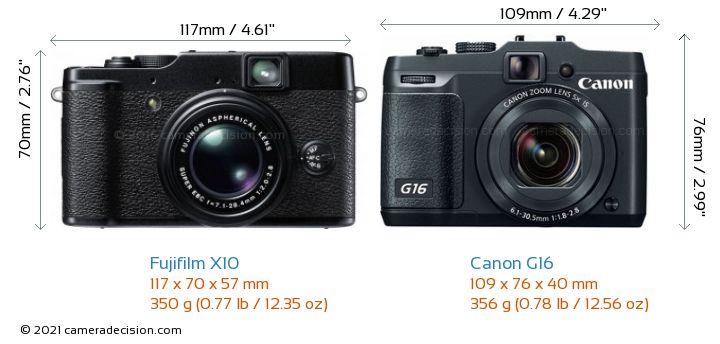 Fujifilm X10 vs Canon G16 Camera Size Comparison - Front View