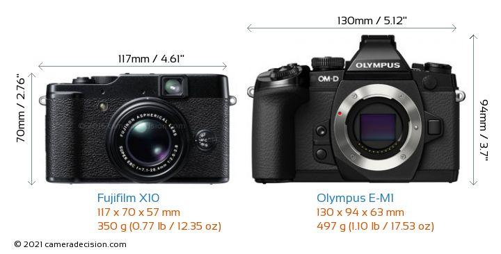 Fujifilm X10 vs Olympus E-M1 Camera Size Comparison - Front View