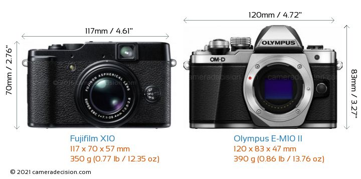 Fujifilm X10 vs Olympus E-M10 II Camera Size Comparison - Front View