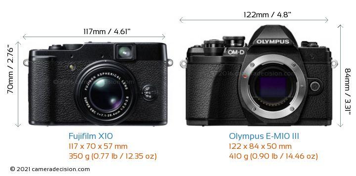 Fujifilm X10 vs Olympus E-M10 MIII Camera Size Comparison - Front View