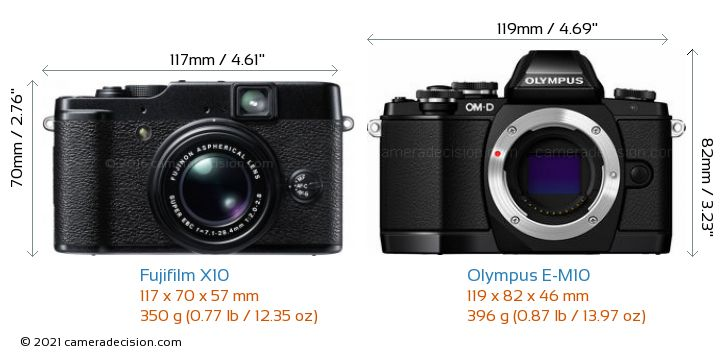 Fujifilm X10 vs Olympus E-M10 Camera Size Comparison - Front View
