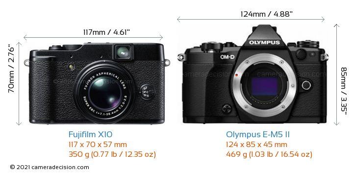 Fujifilm X10 vs Olympus E-M5 II Camera Size Comparison - Front View