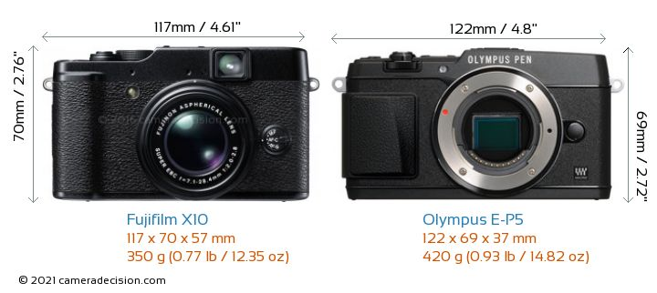 Fujifilm X10 vs Olympus E-P5 Camera Size Comparison - Front View