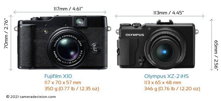 Fujifilm X10 vs Olympus XZ-2 iHS Camera Size Comparison - Front View