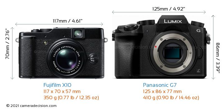 Fujifilm X10 vs Panasonic G7 Camera Size Comparison - Front View