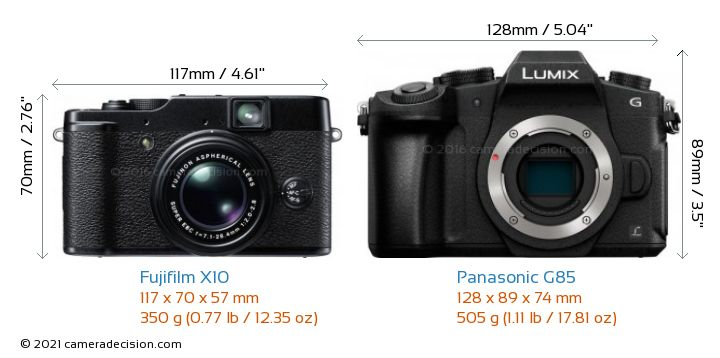 Fujifilm X10 vs Panasonic G85 Camera Size Comparison - Front View