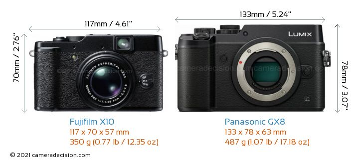 Fujifilm X10 vs Panasonic GX8 Camera Size Comparison - Front View