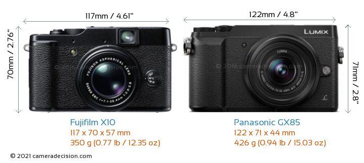 Fujifilm X10 vs Panasonic GX85 Camera Size Comparison - Front View
