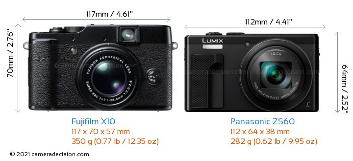 Fujifilm X10 vs Panasonic ZS60 Camera Size Comparison - Front View