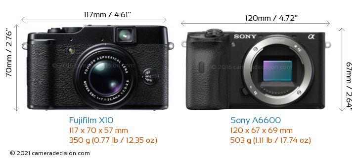 Fujifilm X10 vs Sony A6600 Camera Size Comparison - Front View
