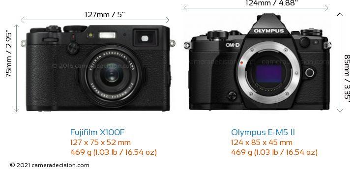 Fujifilm X100F vs Olympus E-M5 II Camera Size Comparison - Front View