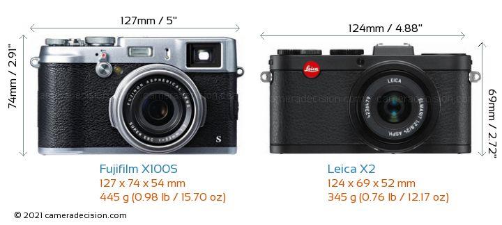 Fujifilm X100S vs Leica X2 Camera Size Comparison - Front View