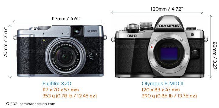 Fujifilm X20 vs Olympus E-M10 II Camera Size Comparison - Front View