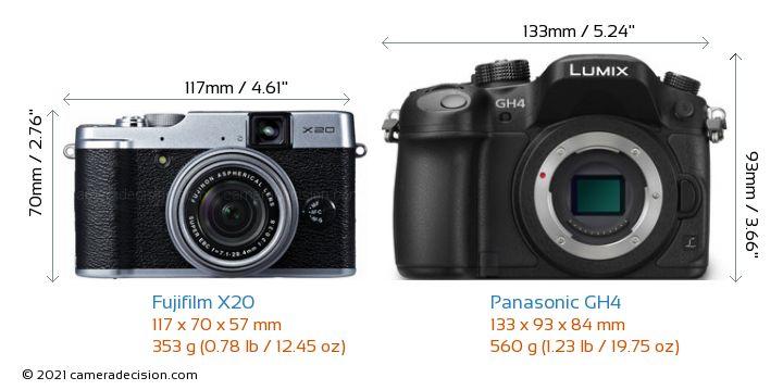Fujifilm X20 vs Panasonic GH4 Camera Size Comparison - Front View