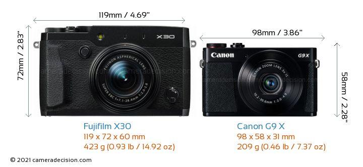 Fujifilm X30 vs Canon G9 X Camera Size Comparison - Front View
