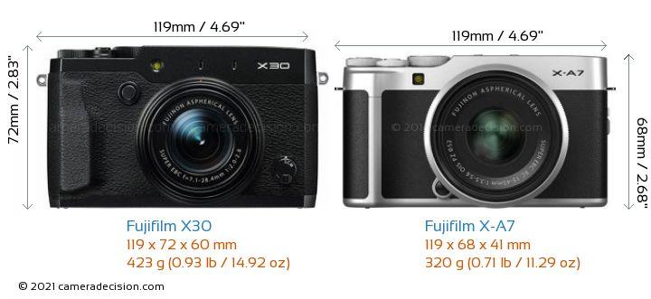 Fujifilm X30 vs Fujifilm X-A7 Camera Size Comparison - Front View