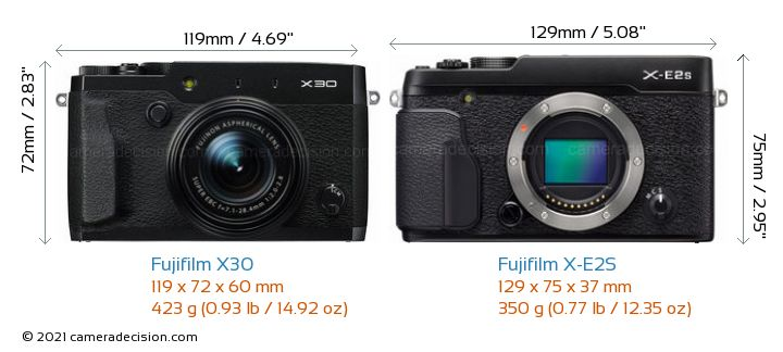 Fujifilm X30 vs Fujifilm X-E2S Camera Size Comparison - Front View