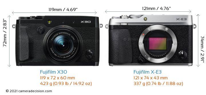 Fujifilm X30 vs Fujifilm X-E3 Camera Size Comparison - Front View