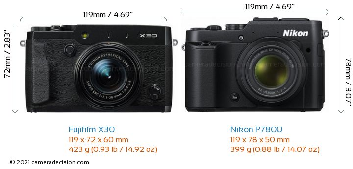 Fujifilm X30 vs Nikon P7800 Camera Size Comparison - Front View