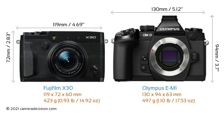 Fujifilm X30 vs Olympus E-M1 Camera Size Comparison - Front View