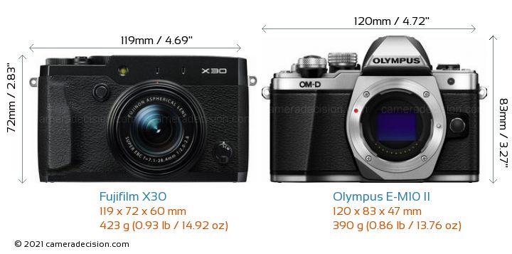Fujifilm X30 vs Olympus E-M10 II Camera Size Comparison - Front View